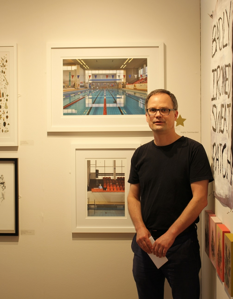 Winner of the Judge's Commendation, Holger Martin, alongside his work