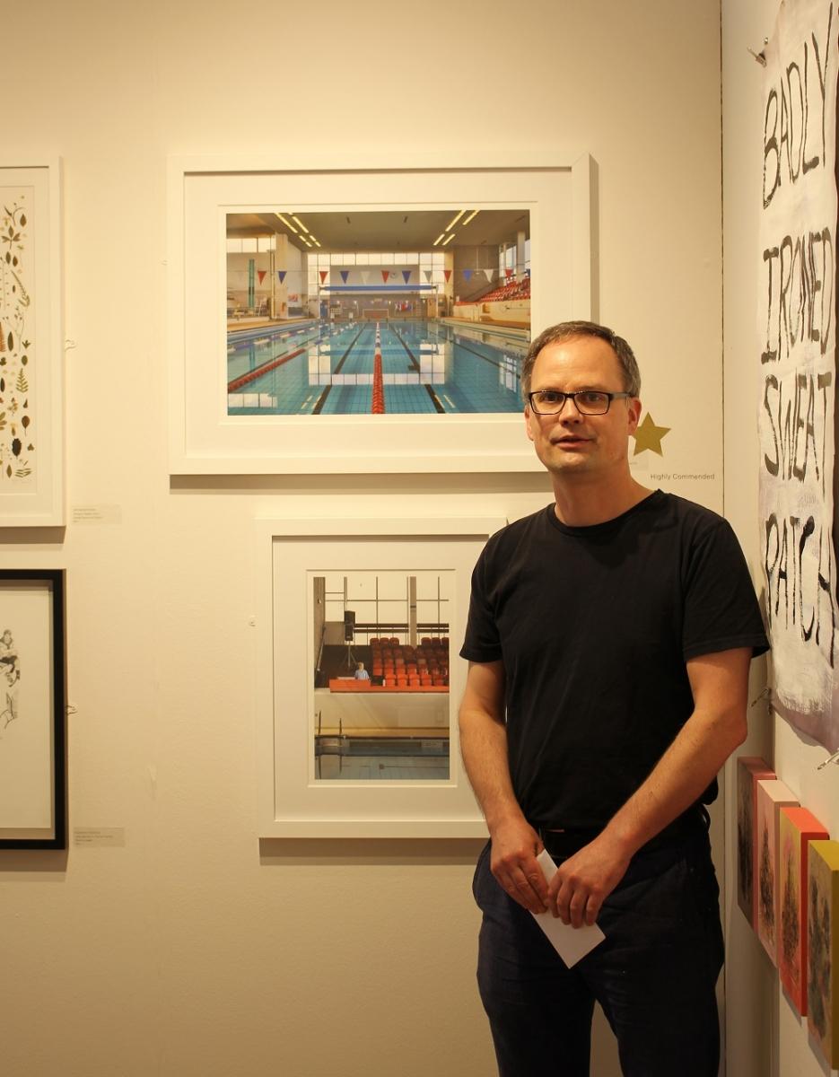 Winner of the Judge's Commendation, Holger Martin, alongside his work