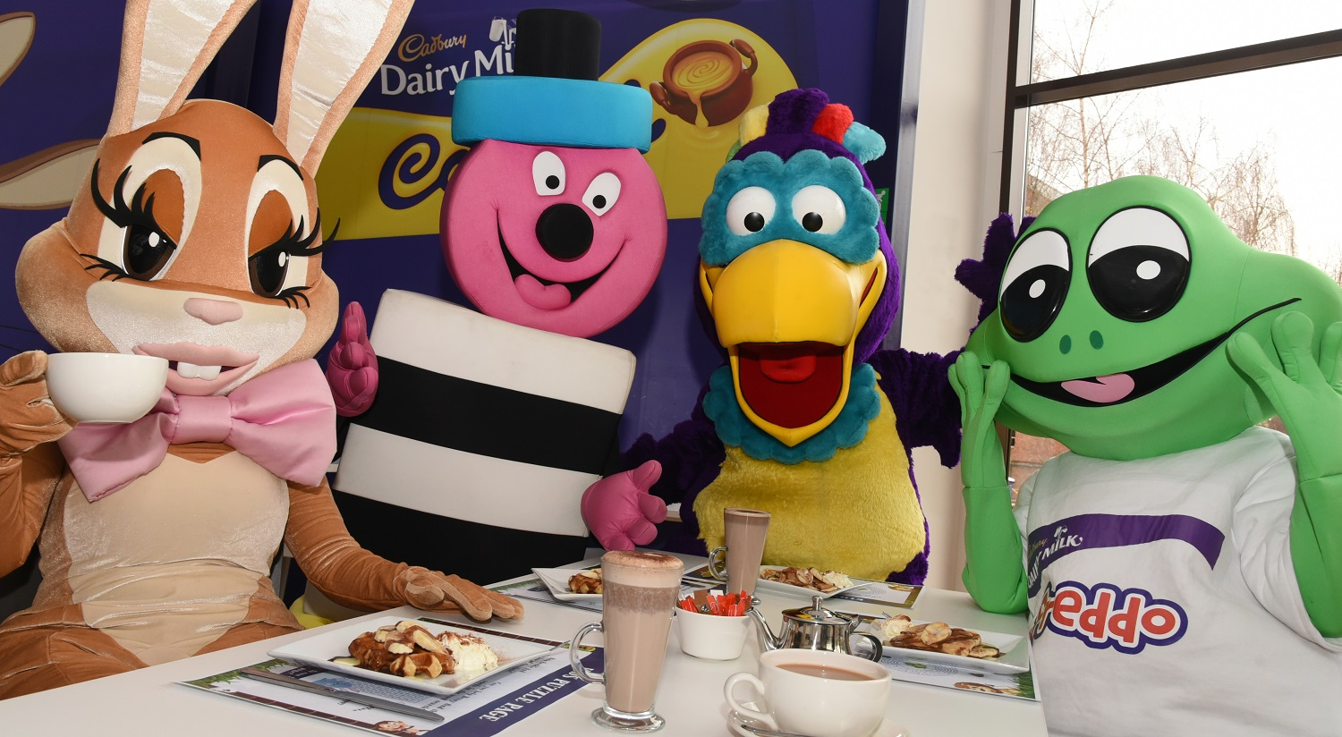 Cadbury World characters welcome guests for breakfast