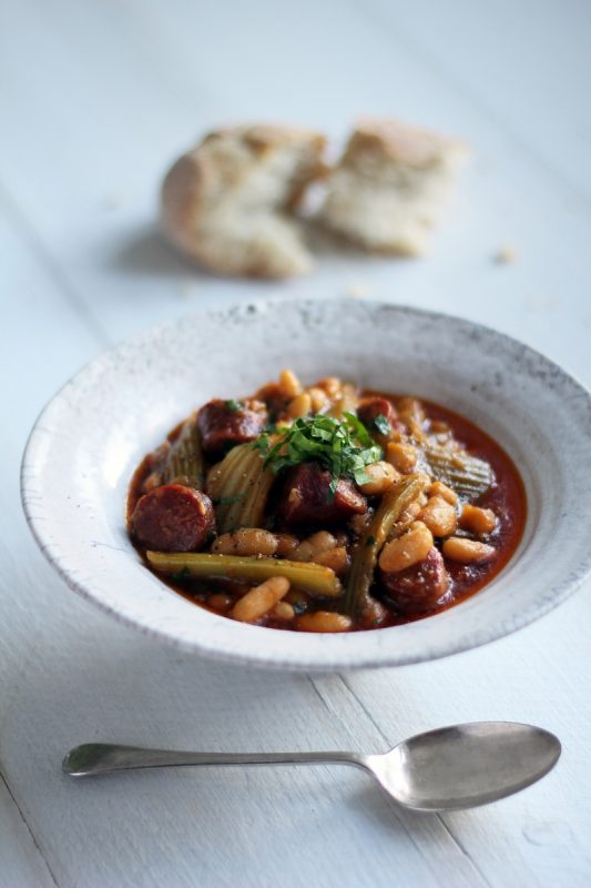 RECIPE: Celery, Chorizo & Cannellini Bean Stew