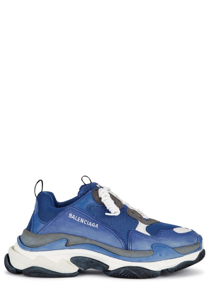 1a336edfe Balenciaga Triple S blue mesh and nubuck trainers, £610 - Dluxe Magazine
