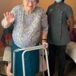 CAREHOME HELPS RESIDENT TAKE FIRST STEPS SINCE FEBRUARY