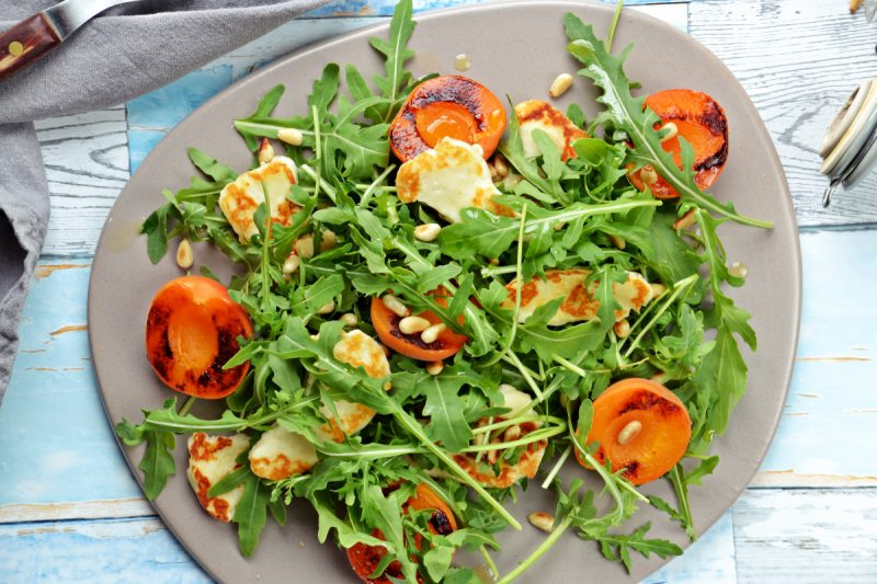 Grilled Apricot and Halloumi Salad