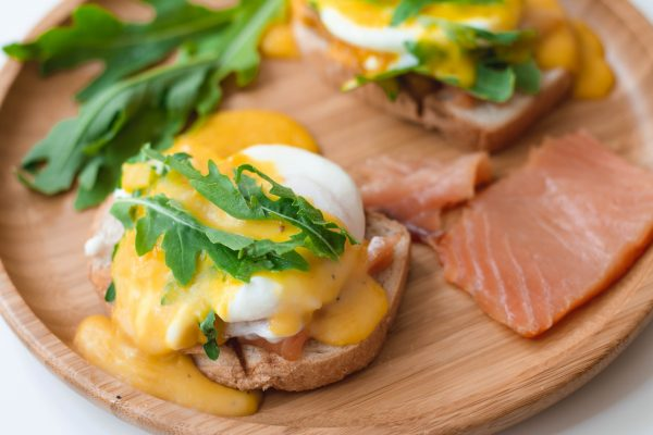 Poached Eggs Benedict with Hollandaise Sauce and Smoked Salmon