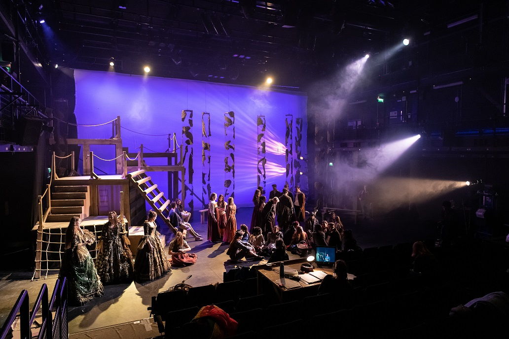 The cast of Into the Woods Jr. in technical rehearsals - photography by Matthew Cawrey